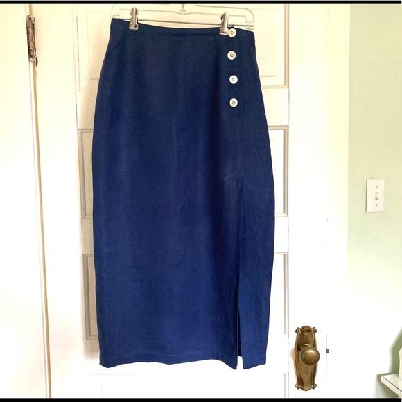 GAP Navy Linen Wrap Skirt w 4 buttons
